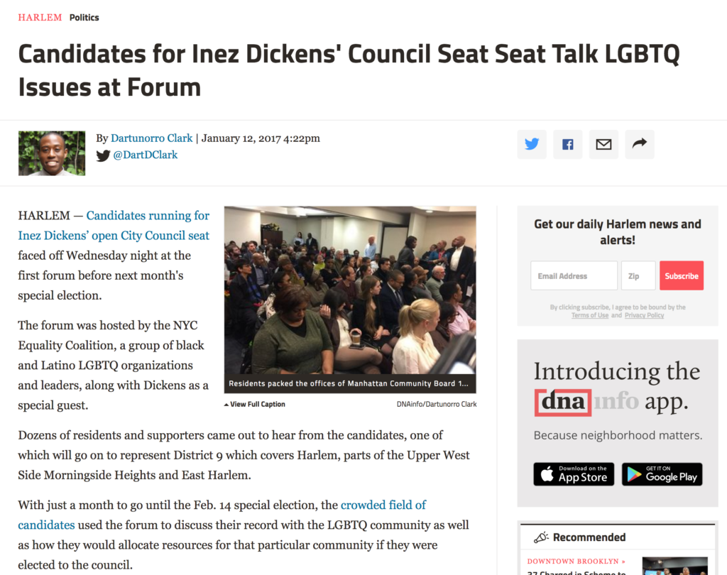 Candidates for Inez Dickens Council Seat Seat Talk LGBTQ Issues at Forum.DNAinfo.01.11.2017