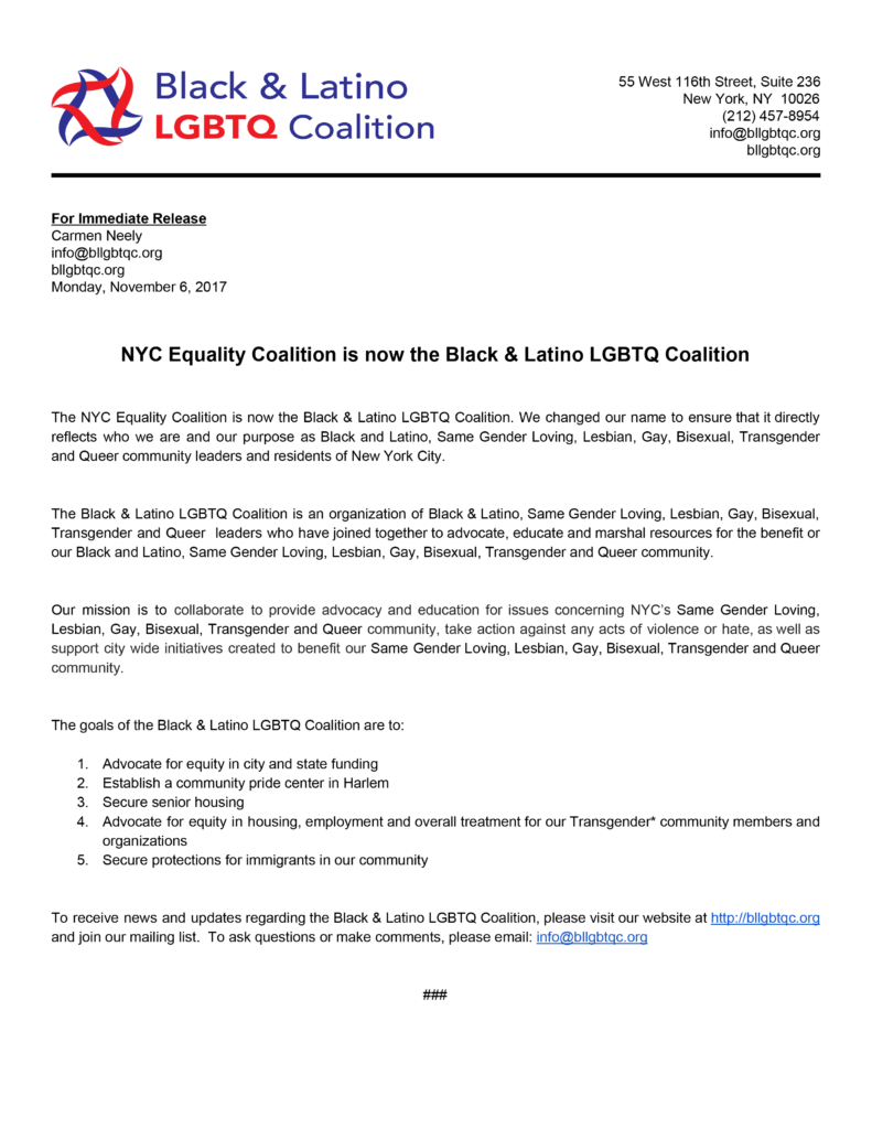 BLLGBTQC Name Change Press Release